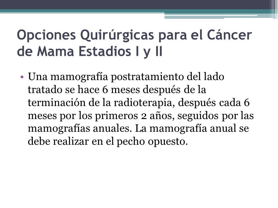 Opciones Quirúrgicas para el Cáncer de Mama Estadios I y II Una mamografía postratamiento del lado tratado se hace 6 meses después de la terminación d