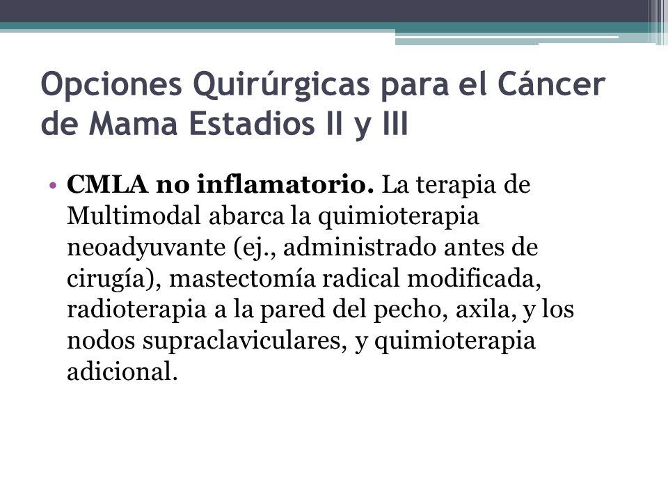 Opciones Quirúrgicas para el Cáncer de Mama Estadios II y III CMLA no inflamatorio. La terapia de Multimodal abarca la quimioterapia neoadyuvante (ej.