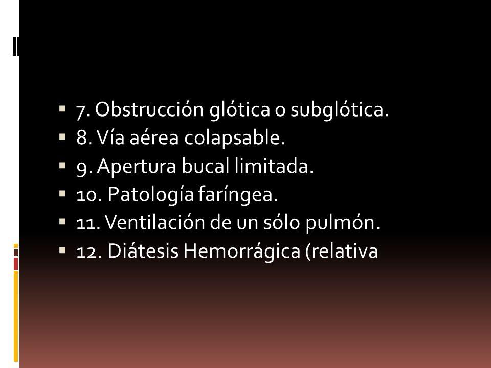 7. Obstrucción glótica o subglótica. 8. Vía aérea colapsable. 9. Apertura bucal limitada. 10. Patología faríngea. 11. Ventilación de un sólo pulmón. 1