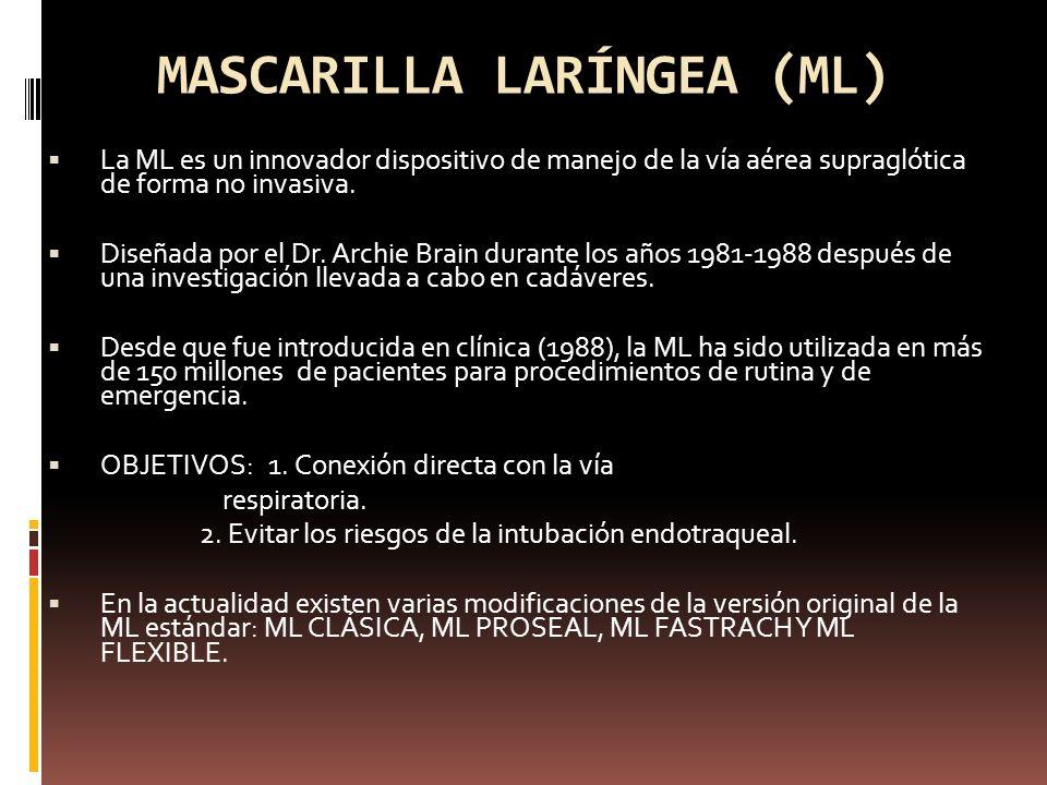 MASCARILLA LARÍNGEA (ML) La ML es un innovador dispositivo de manejo de la vía aérea supraglótica de forma no invasiva. Diseñada por el Dr. Archie Bra