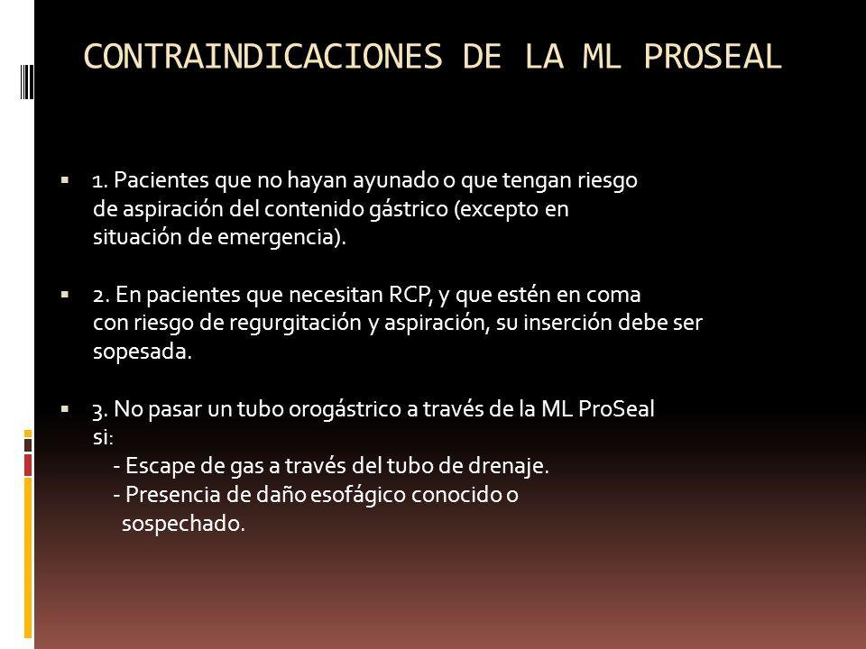 CONTRAINDICACIONES DE LA ML PROSEAL 1. Pacientes que no hayan ayunado o que tengan riesgo de aspiración del contenido gástrico (excepto en situación d