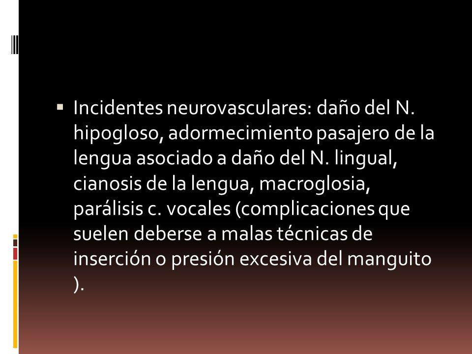 Incidentes neurovasculares: daño del N. hipogloso, adormecimiento pasajero de la lengua asociado a daño del N. lingual, cianosis de la lengua, macrogl