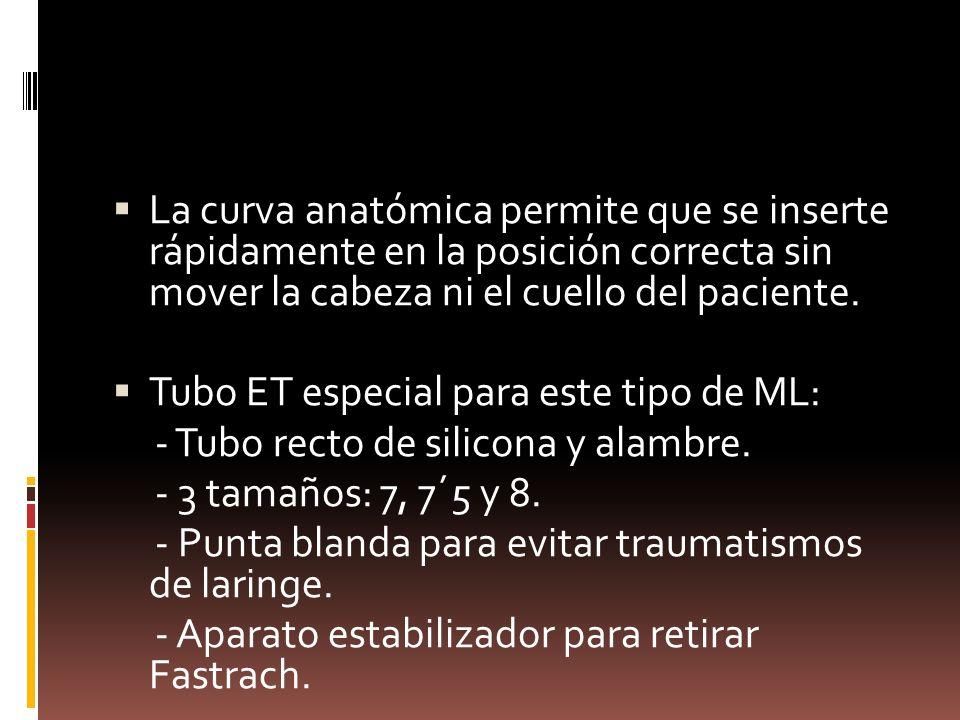 La curva anatómica permite que se inserte rápidamente en la posición correcta sin mover la cabeza ni el cuello del paciente. Tubo ET especial para est