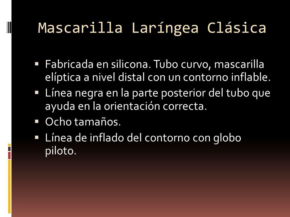 Mascarilla Laríngea Clásica Fabricada en silicona. Tubo curvo, mascarilla elíptica a nivel distal con un contorno inflable. Línea negra en la parte po