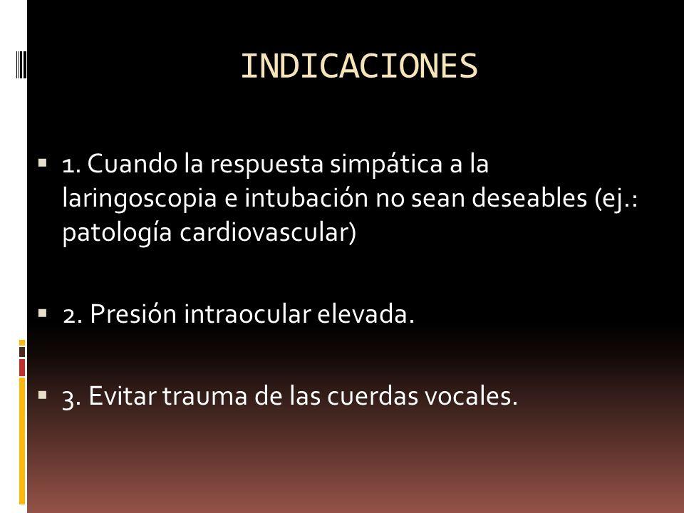 INDICACIONES 1. Cuando la respuesta simpática a la laringoscopia e intubación no sean deseables (ej.: patología cardiovascular) 2. Presión intraocular