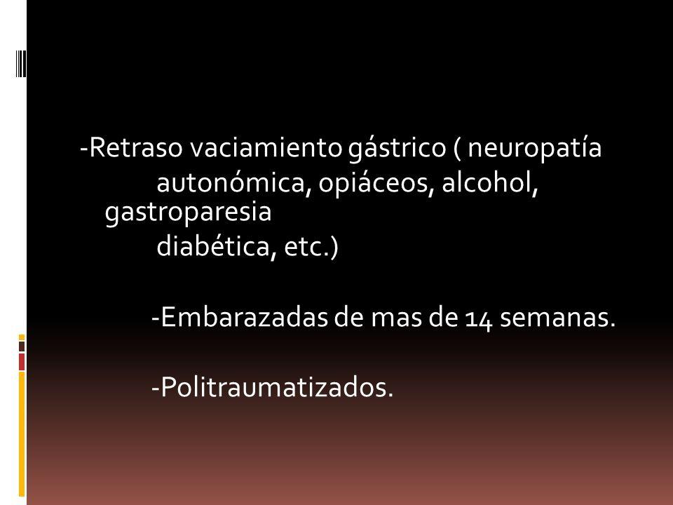 -Retraso vaciamiento gástrico ( neuropatía autonómica, opiáceos, alcohol, gastroparesia diabética, etc.) -Embarazadas de mas de 14 semanas. -Politraum