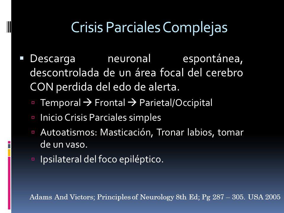Crisis Parciales Complejas Descarga neuronal espontánea, descontrolada de un área focal del cerebro CON perdida del edo de alerta. Temporal Frontal Pa