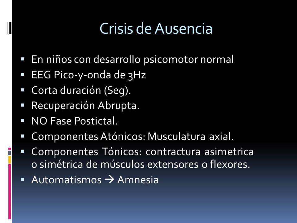 Crisis de Ausencia En niños con desarrollo psicomotor normal EEG Pico-y-onda de 3Hz Corta duración (Seg). Recuperación Abrupta. NO Fase Postictal. Com