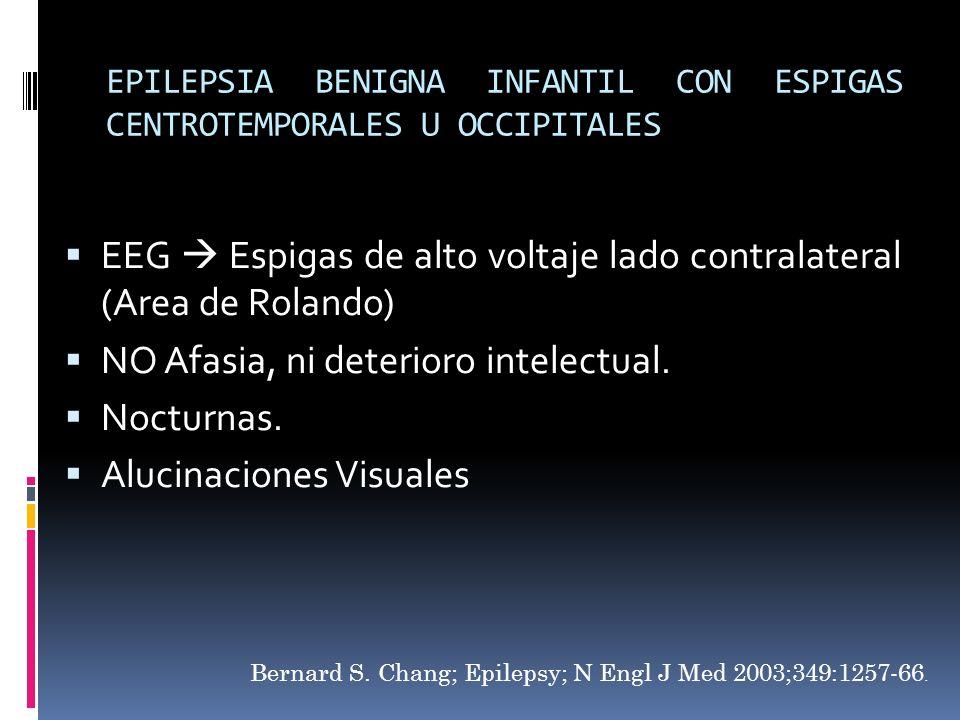 EPILEPSIA BENIGNA INFANTIL CON ESPIGAS CENTROTEMPORALES U OCCIPITALES EEG Espigas de alto voltaje lado contralateral (Area de Rolando) NO Afasia, ni d
