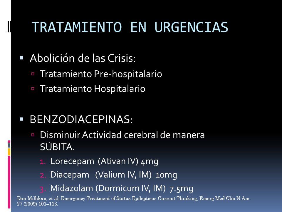 TRATAMIENTO EN URGENCIAS Abolición de las Crisis: Tratamiento Pre-hospitalario Tratamiento Hospitalario BENZODIACEPINAS: Disminuir Actividad cerebral