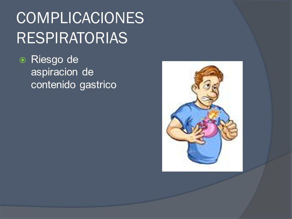 COMPLICACIONES RESPIRATORIAS Riesgo de aspiracion de contenido gastrico