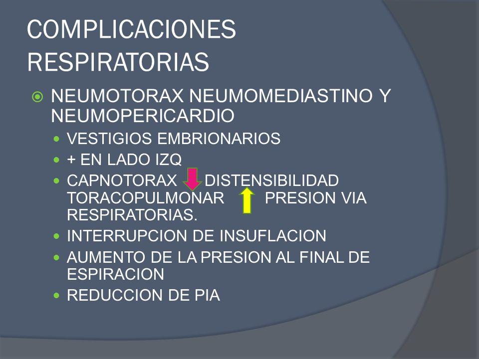 COMPLICACIONES RESPIRATORIAS NEUMOTORAX NEUMOMEDIASTINO Y NEUMOPERICARDIO VESTIGIOS EMBRIONARIOS + EN LADO IZQ CAPNOTORAX DISTENSIBILIDAD TORACOPULMON
