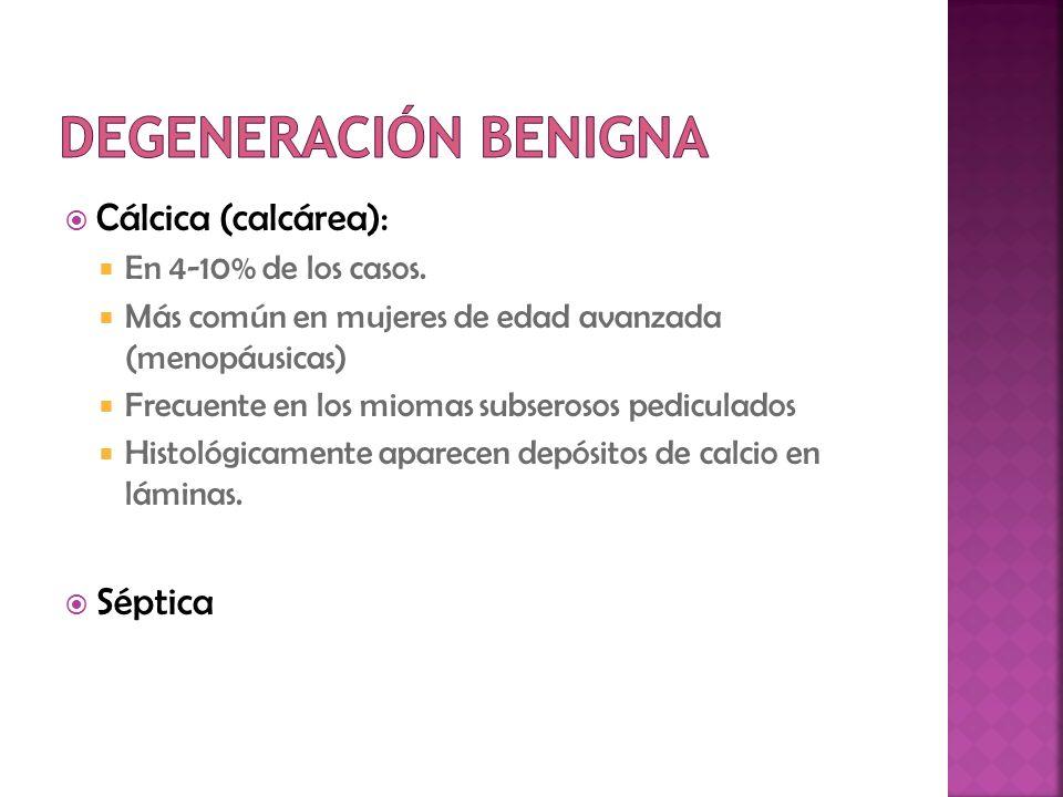 Cálcica (calcárea): En 4-10% de los casos. Más común en mujeres de edad avanzada (menopáusicas) Frecuente en los miomas subserosos pediculados Histoló