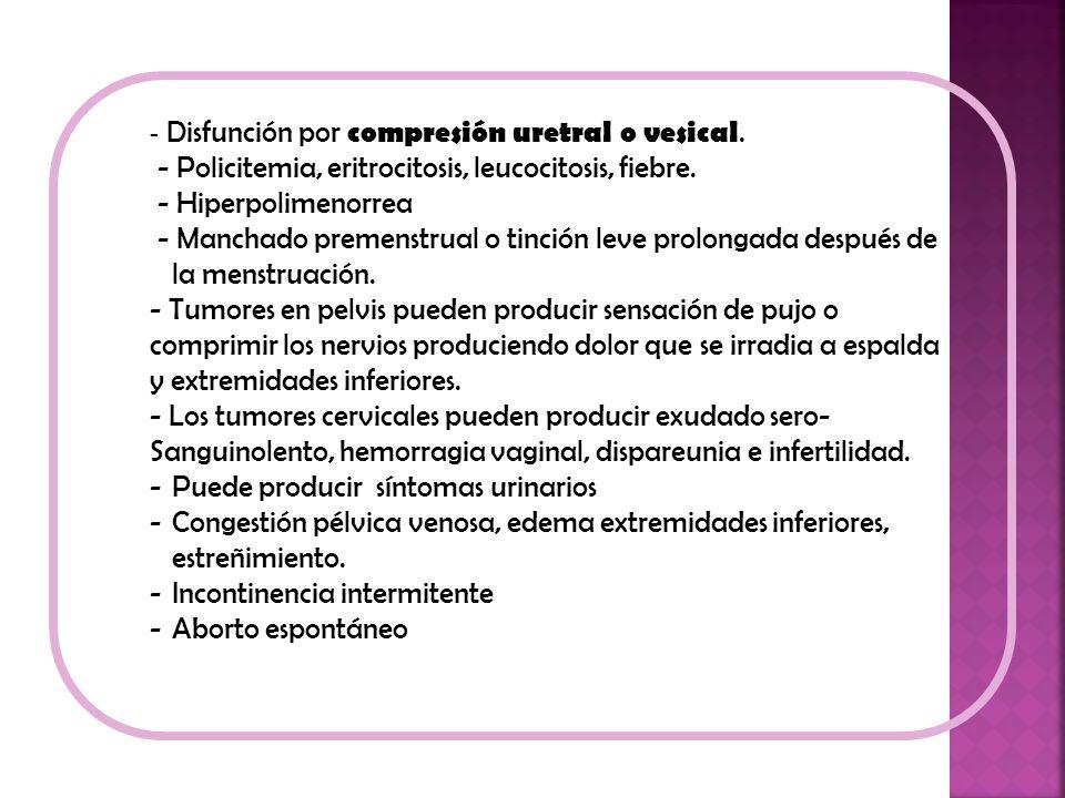 - Disfunción por compresión uretral o vesical. - Policitemia, eritrocitosis, leucocitosis, fiebre. - Hiperpolimenorrea - Manchado premenstrual o tinci
