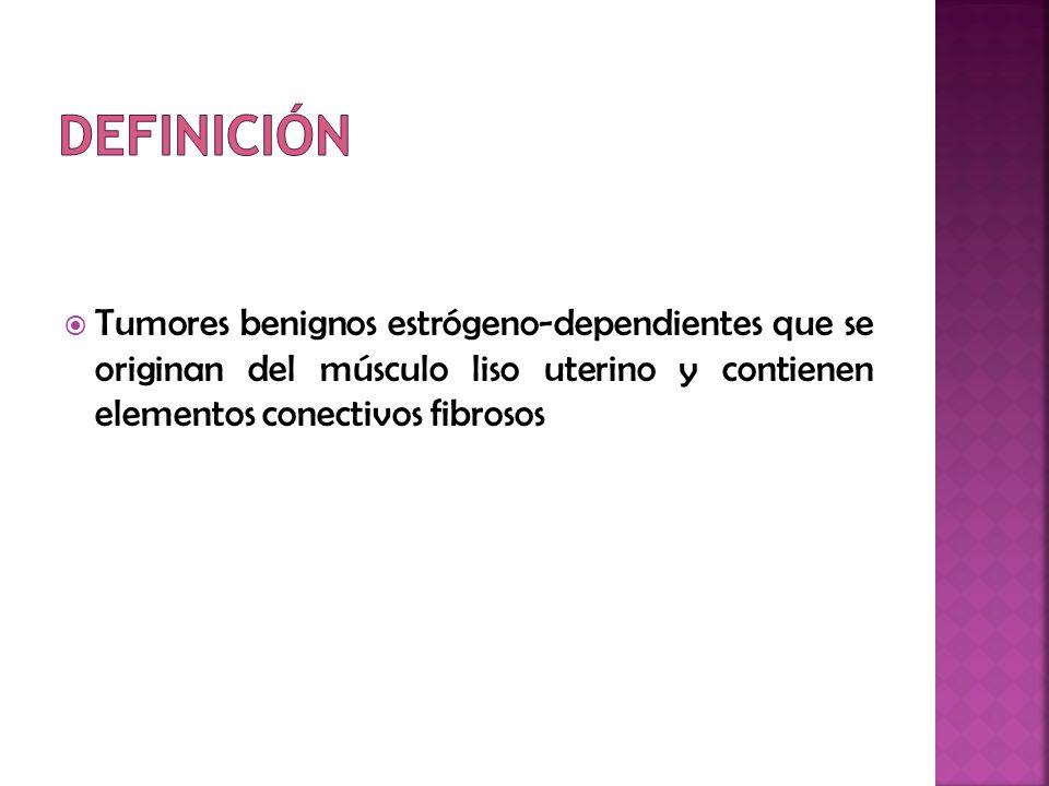 Tratamiento médico a) Alivio de los síntomas (menorragias) b) Reducción del tamaño del tumor Progestágenos No efectivos en la menorragia secundaria al mioma Pacientes perimenopáusicas con mioma Andrógenos débiles (danazol y gestrinona) Reducir las pérdidas menstruales Relativa disminución del 20% del volumen del mioma uterino Beneficios transitorios de los síntomas