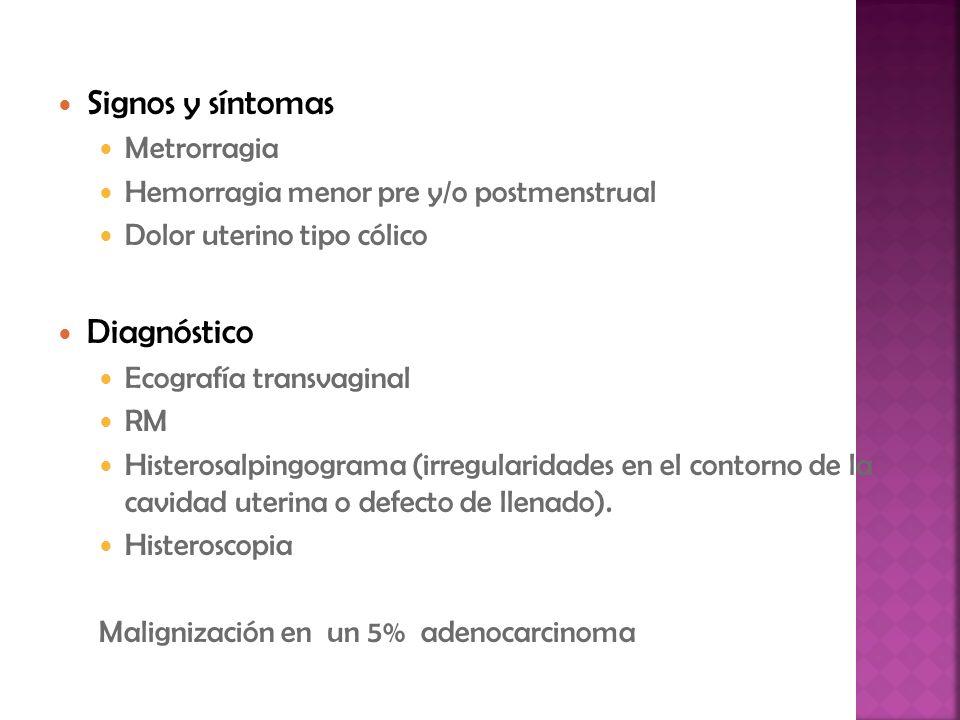 Signos y síntomas Metrorragia Hemorragia menor pre y/o postmenstrual Dolor uterino tipo cólico Diagnóstico Ecografía transvaginal RM Histerosalpingogr