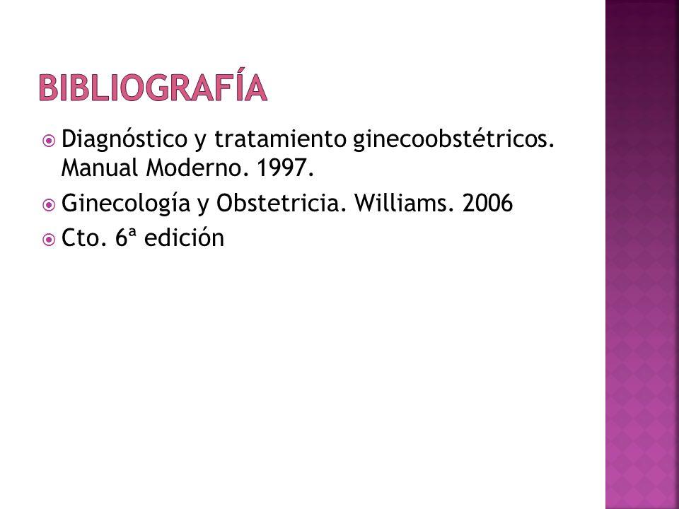 Diagnóstico y tratamiento ginecoobstétricos. Manual Moderno. 1997. Ginecología y Obstetricia. Williams. 2006 Cto. 6ª edición