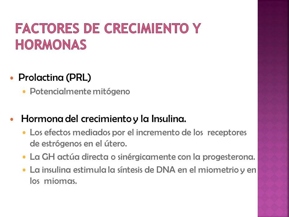 Prolactina (PRL) Potencialmente mitógeno Hormona del crecimiento y la Insulina. Los efectos mediados por el incremento de los receptores de estrógenos