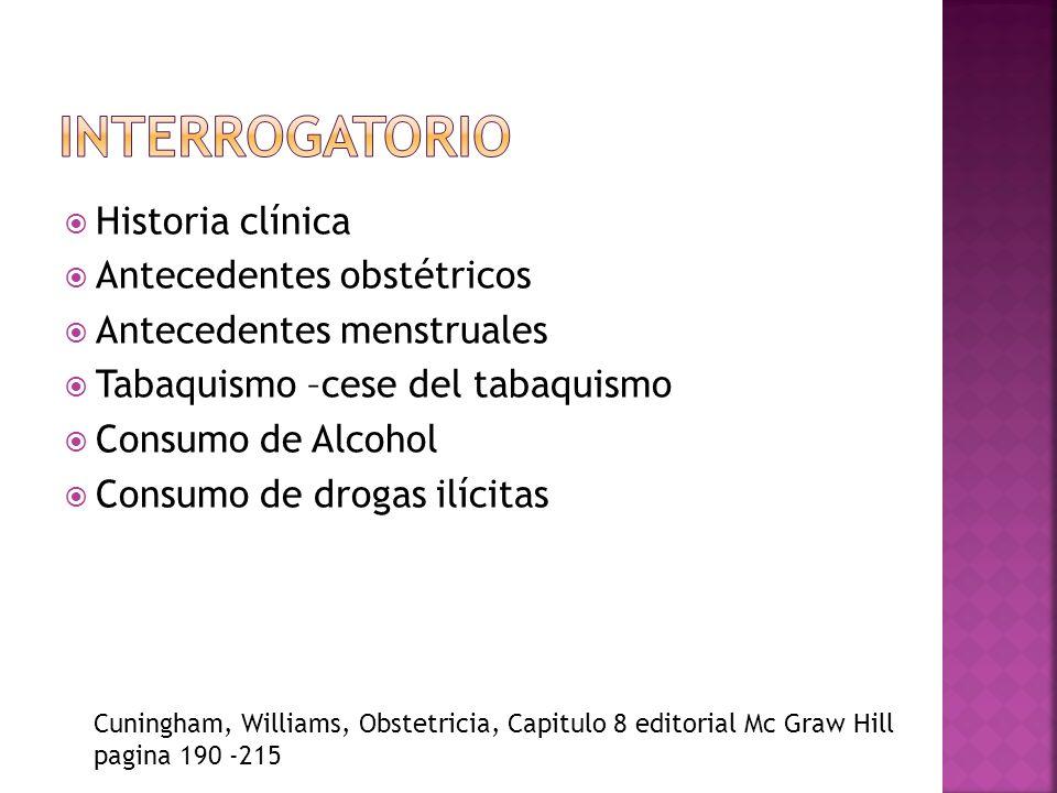 Historia clínica Antecedentes obstétricos Antecedentes menstruales Tabaquismo –cese del tabaquismo Consumo de Alcohol Consumo de drogas ilícitas Cunin