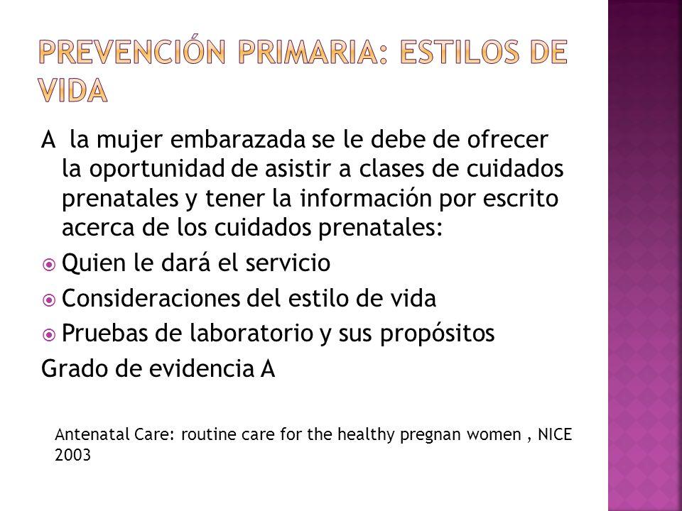 A la mujer embarazada se le debe de ofrecer la oportunidad de asistir a clases de cuidados prenatales y tener la información por escrito acerca de los
