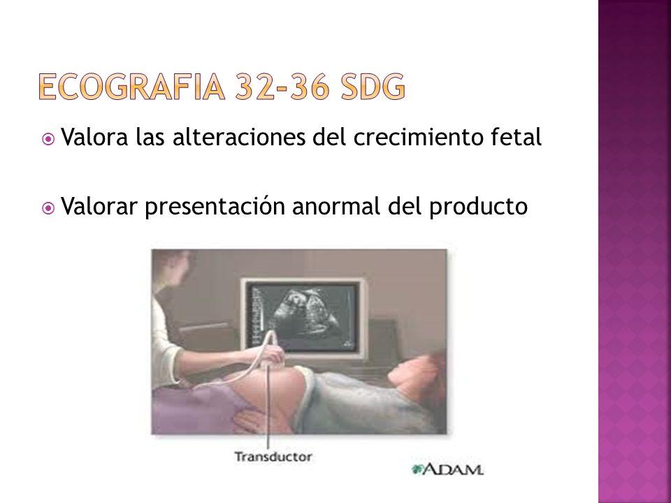 Valora las alteraciones del crecimiento fetal Valorar presentación anormal del producto