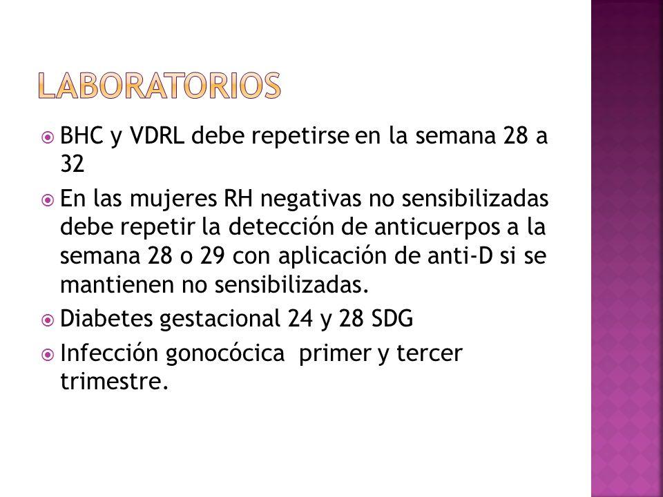 BHC y VDRL debe repetirse en la semana 28 a 32 En las mujeres RH negativas no sensibilizadas debe repetir la detección de anticuerpos a la semana 28 o