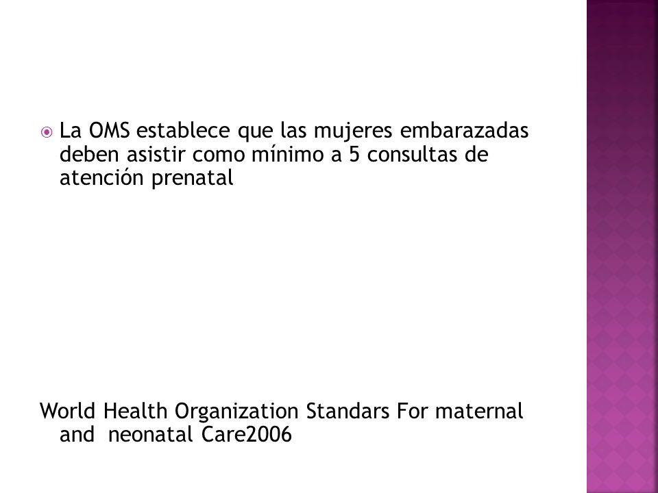 La OMS establece que las mujeres embarazadas deben asistir como mínimo a 5 consultas de atención prenatal World Health Organization Standars For mater