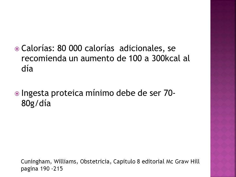 Calorías: 80 000 calorías adicionales, se recomienda un aumento de 100 a 300kcal al día Ingesta proteica mínimo debe de ser 70- 80g/día Cuningham, Wil