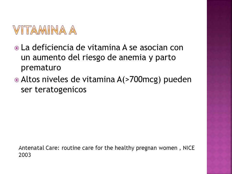 La deficiencia de vitamina A se asocian con un aumento del riesgo de anemia y parto prematuro Altos niveles de vitamina A(>700mcg) pueden ser teratoge