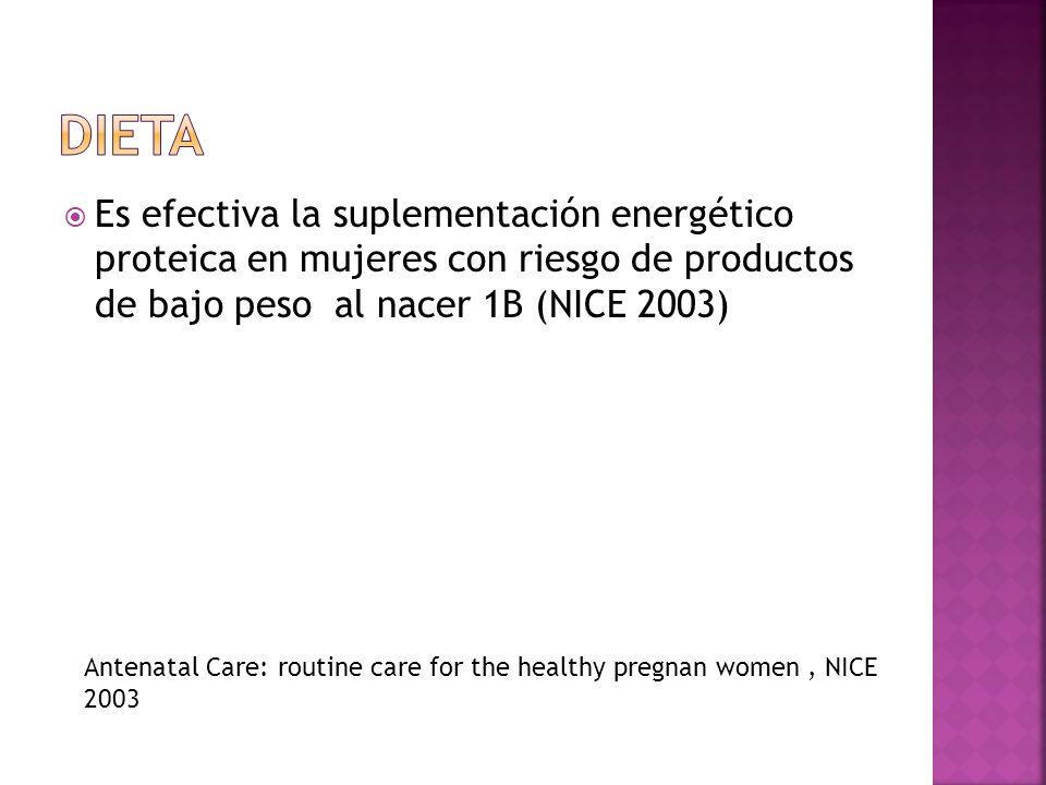 Es efectiva la suplementación energético proteica en mujeres con riesgo de productos de bajo peso al nacer 1B (NICE 2003) Antenatal Care: routine care