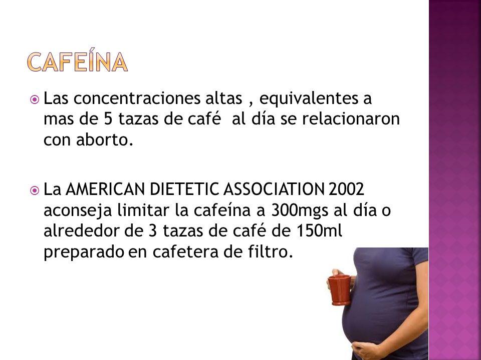 Las concentraciones altas, equivalentes a mas de 5 tazas de café al día se relacionaron con aborto. La AMERICAN DIETETIC ASSOCIATION 2002 aconseja lim