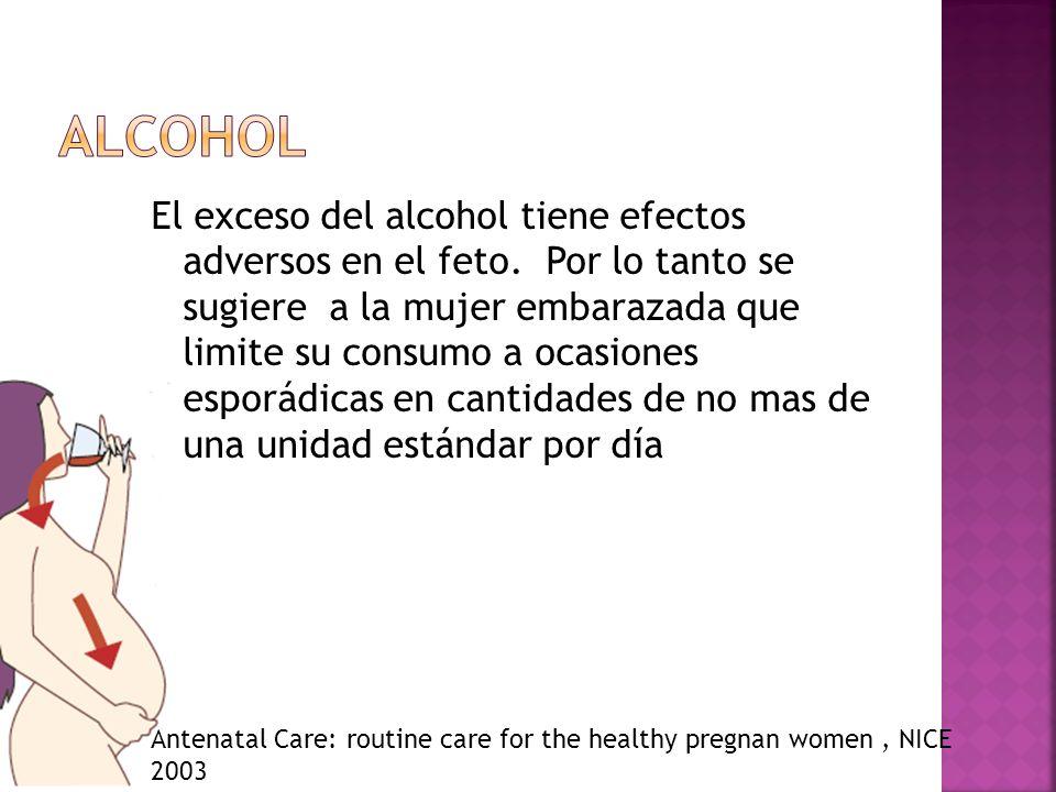 El exceso del alcohol tiene efectos adversos en el feto. Por lo tanto se sugiere a la mujer embarazada que limite su consumo a ocasiones esporádicas e