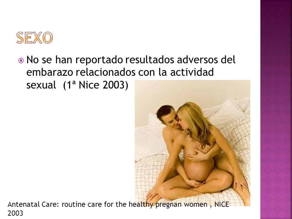 No se han reportado resultados adversos del embarazo relacionados con la actividad sexual (1ª Nice 2003) Antenatal Care: routine care for the healthy