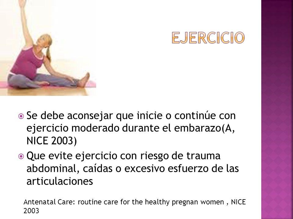 Se debe aconsejar que inicie o continúe con ejercicio moderado durante el embarazo(A, NICE 2003) Que evite ejercicio con riesgo de trauma abdominal, c