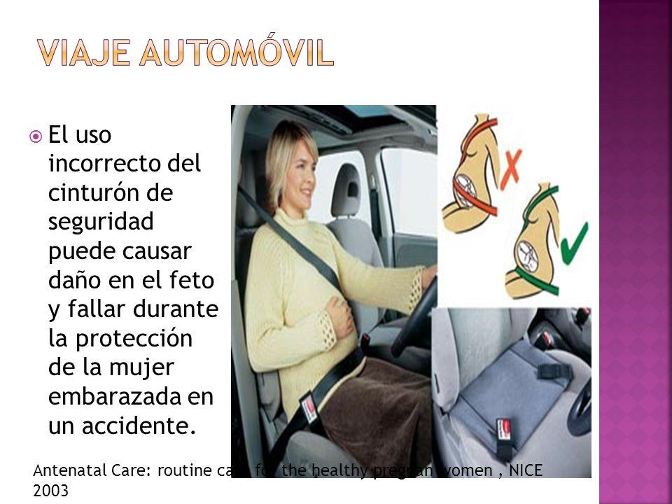 El uso incorrecto del cinturón de seguridad puede causar daño en el feto y fallar durante la protección de la mujer embarazada en un accidente. Antena
