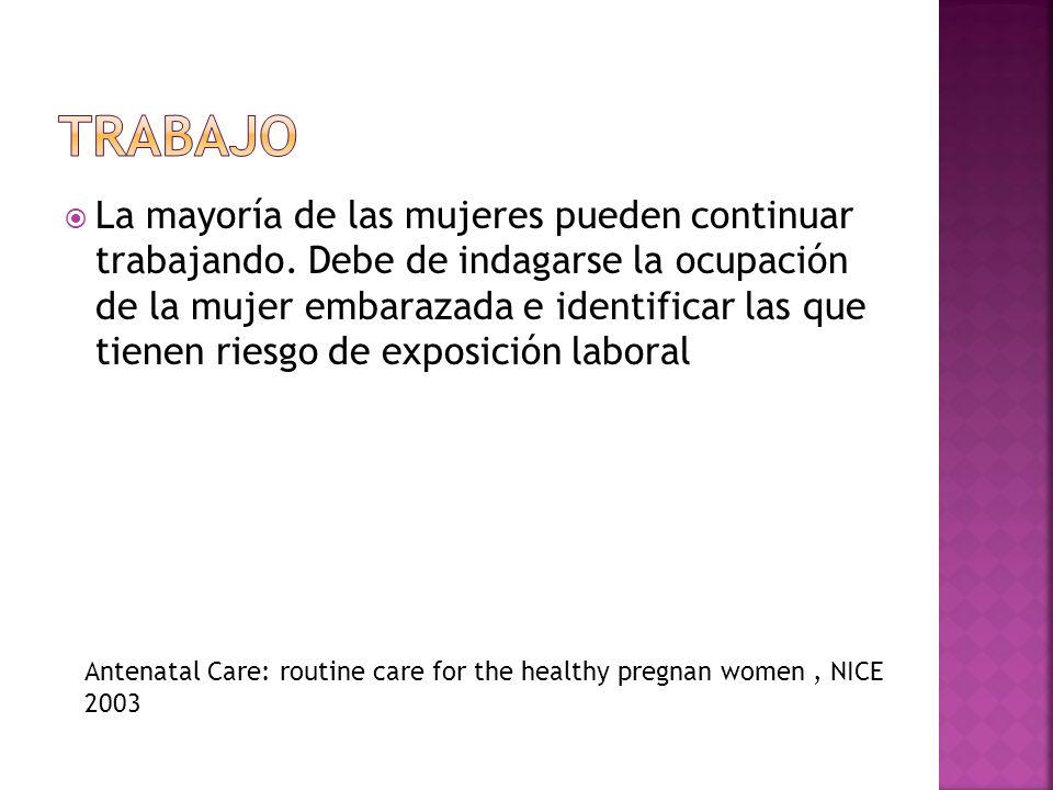 La mayoría de las mujeres pueden continuar trabajando. Debe de indagarse la ocupación de la mujer embarazada e identificar las que tienen riesgo de ex