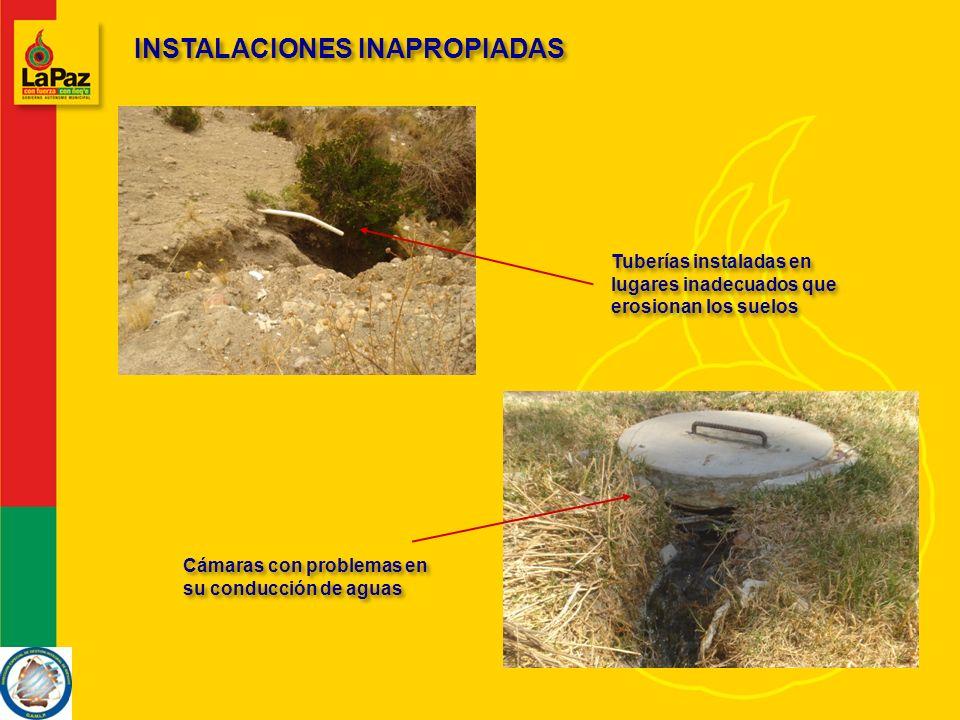 INSTALACIONES INAPROPIADAS Tuberías instaladas en lugares inadecuados que erosionan los suelos Cámaras con problemas en su conducción de aguas