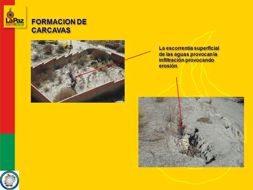 FORMACION DE CARCAVAS La escorrentía superficial de las aguas provocan la infiltración provocando erosión
