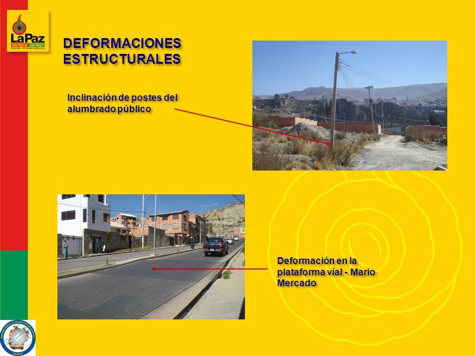 DEFORMACIONES ESTRUCTURALES Inclinación de postes del alumbrado público Deformación en la plataforma víal - Mario Mercado