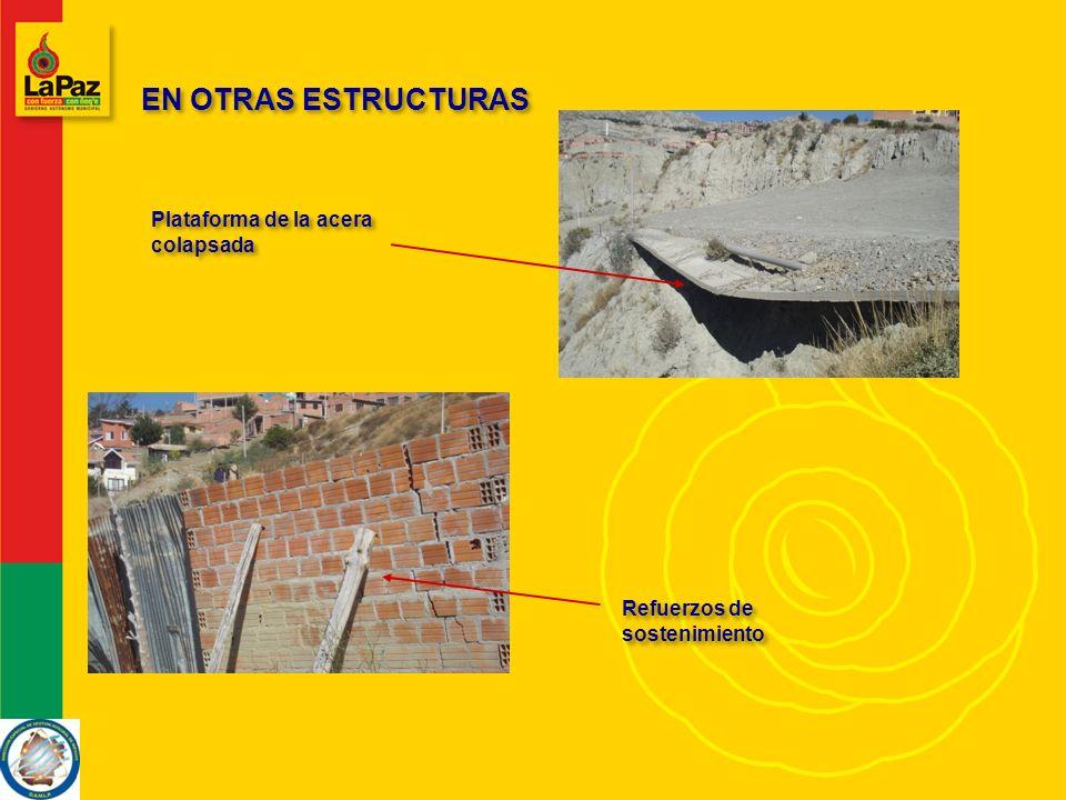 EN OTRAS ESTRUCTURAS Plataforma de la acera colapsada Refuerzos de sostenimiento