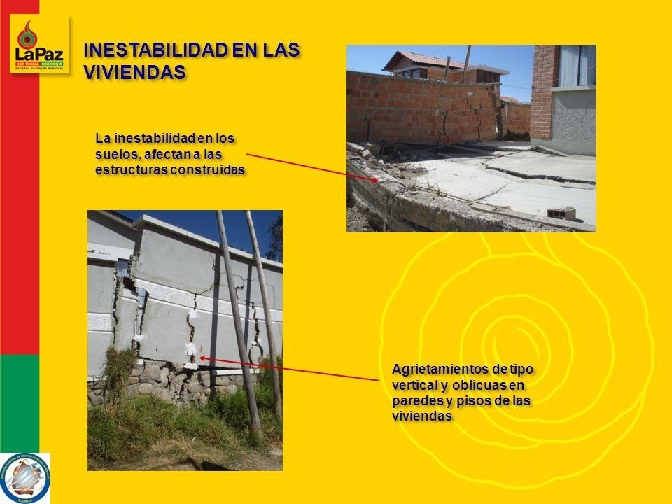 INESTABILIDAD EN LAS VIVIENDAS La inestabilidad en los suelos, afectan a las estructuras construidas Agrietamientos de tipo vertical y oblicuas en paredes y pisos de las viviendas
