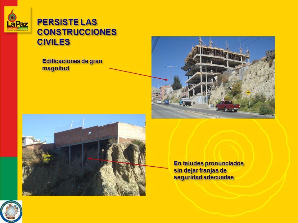 PERSISTE LAS CONSTRUCCIONES CIVILES PERSISTE LAS CONSTRUCCIONES CIVILES Edificaciones de gran magnitud En taludes pronunciados sin dejar franjas de seguridad adecuadas