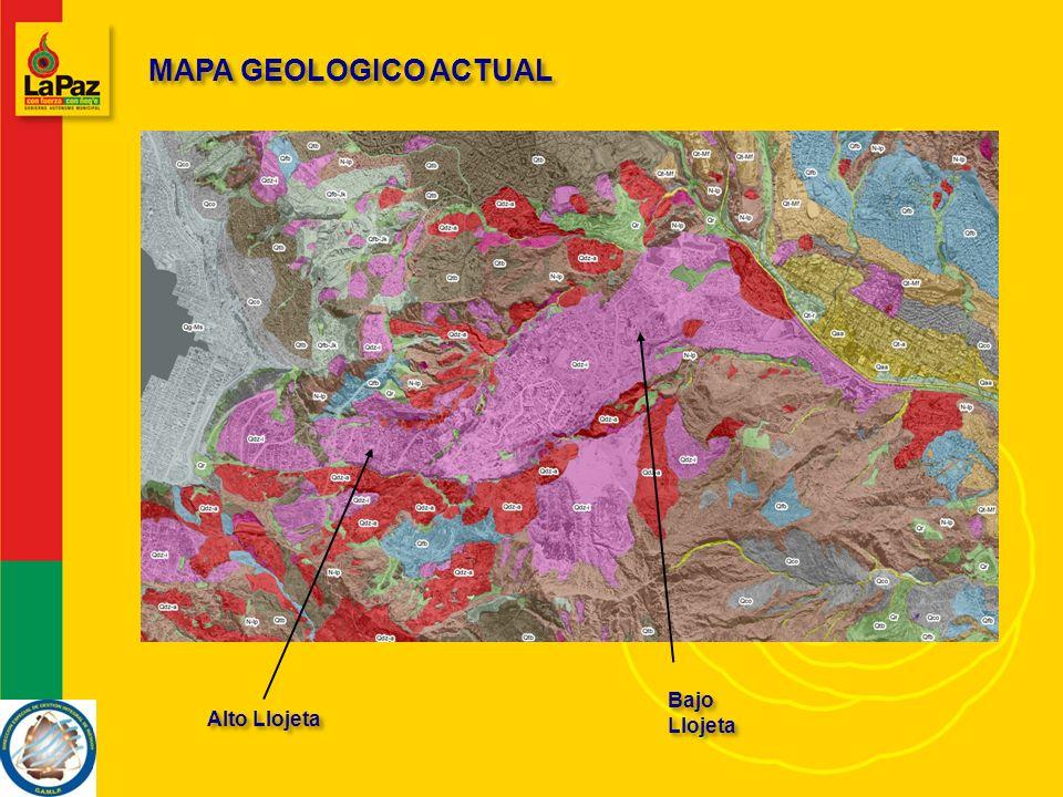 MAPA GEOLOGICO ACTUAL Alto Llojeta Bajo Llojeta