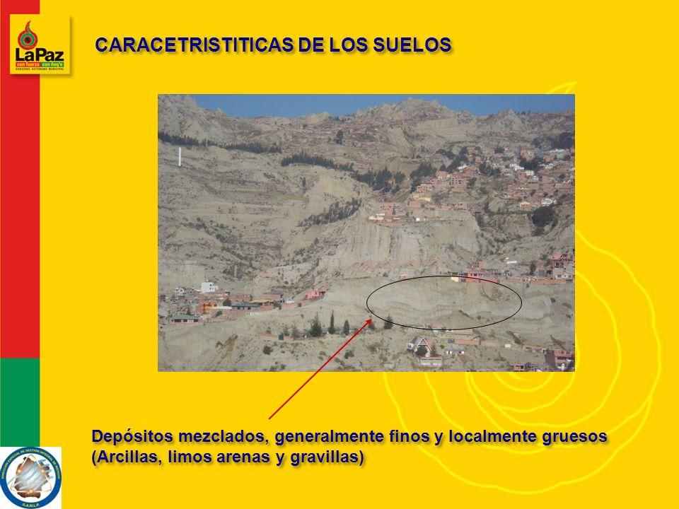 CARACETRISTITICAS DE LOS SUELOS Depósitos mezclados, generalmente finos y localmente gruesos (Arcillas, limos arenas y gravillas)