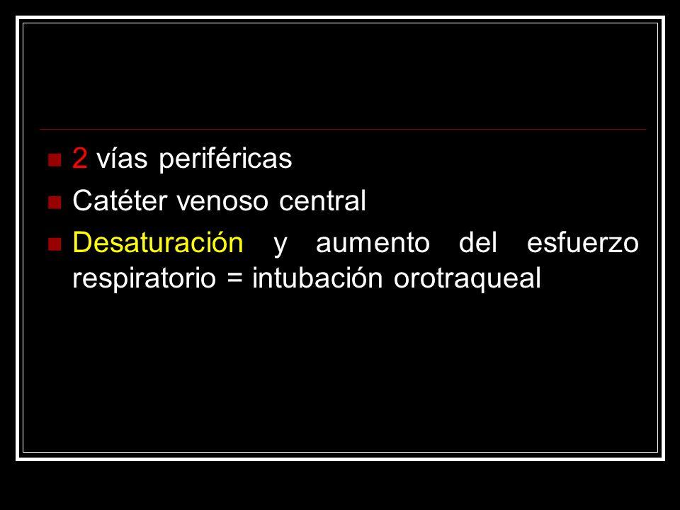 2 vías periféricas Catéter venoso central Desaturación y aumento del esfuerzo respiratorio = intubación orotraqueal