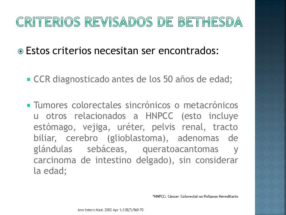 Estos criterios necesitan ser encontrados: CCR diagnosticado antes de los 50 años de edad; Tumores colorectales sincrónicos o metacrónicos u otros rel