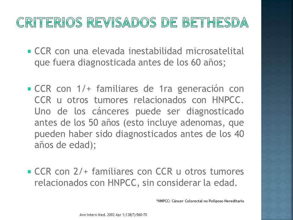 CCR con una elevada inestabilidad microsatelital que fuera diagnosticada antes de los 60 años; CCR con 1/+ familiares de 1ra generación con CCR u otro