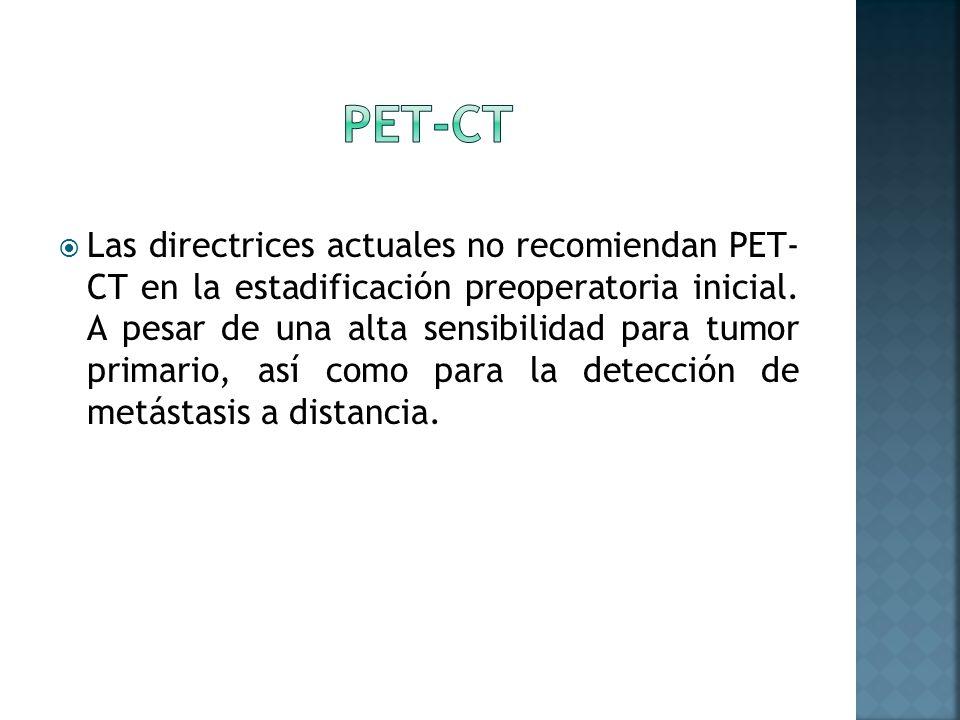 Las directrices actuales no recomiendan PET- CT en la estadificación preoperatoria inicial. A pesar de una alta sensibilidad para tumor primario, así