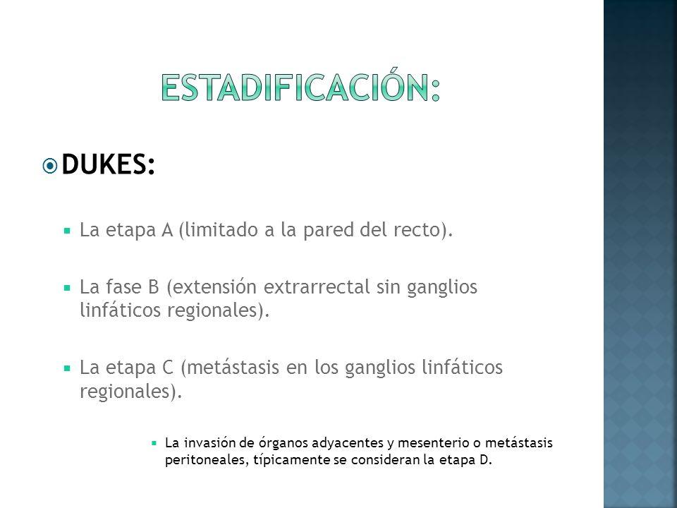 DUKES: La etapa A (limitado a la pared del recto). La fase B (extensión extrarrectal sin ganglios linfáticos regionales). La etapa C (metástasis en lo