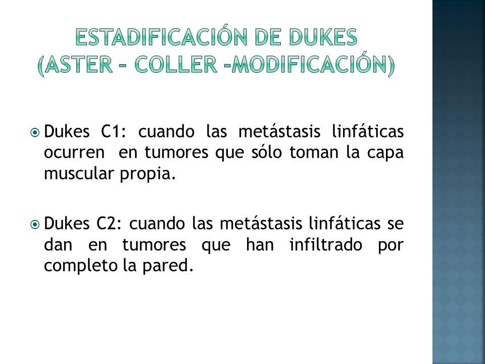 Dukes C1: cuando las metástasis linfáticas ocurren en tumores que sólo toman la capa muscular propia. Dukes C2: cuando las metástasis linfáticas se da